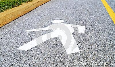 Walking Man Symbol Road Crossing Sign