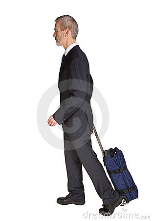 Walking man with trolley