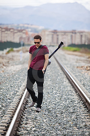 Free Walking Musician Royalty Free Stock Photography - 18292177