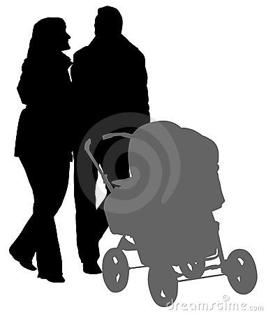 Walking parents silhouette