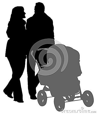 Walking parents silhouette