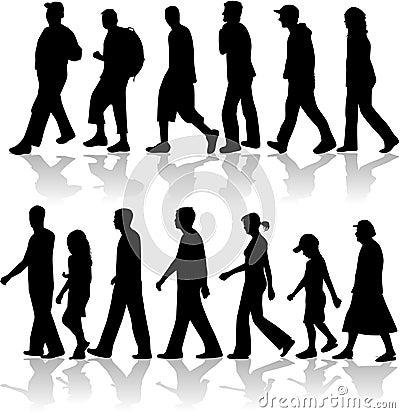 Free Walking Peopel- Vector Work Stock Image - 7814381