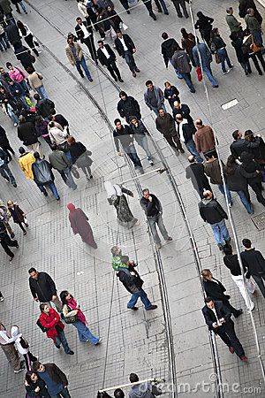 Walking people at Istiklal street in Beyoglu