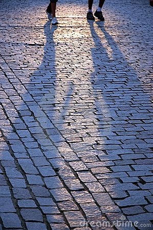 Free Walking People S Shadows Royalty Free Stock Images - 3110269