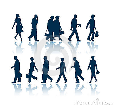 Free Walking People Silhouettes Royalty Free Stock Image - 1067056