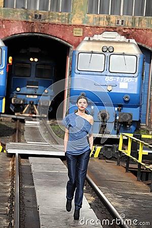 Walking on railway Editorial Image