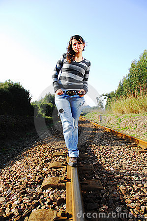 Walking A Railway Track Royalty Free Stock Image