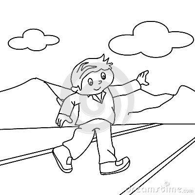 Walking On The Road Coloring Page Stock Image | CartoonDealer.com ...