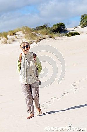 Walking on the sand dune