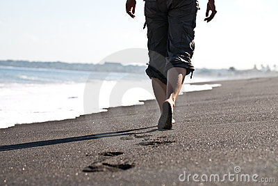 Walking on the sandbeach