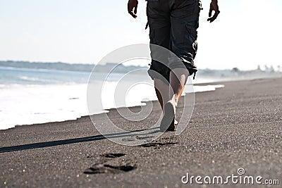 Walking on the sandbeach