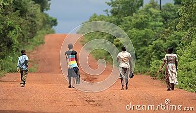 Walking through savanna in Africa Editorial Photography