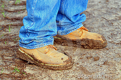 Walking Shoes Coated with Mud
