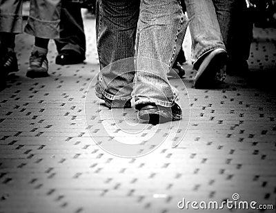 Walking through the street