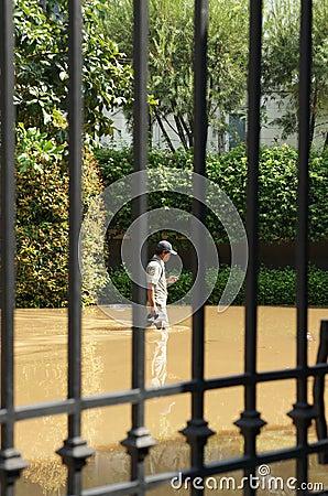Walking thigh-deep through the flood Editorial Stock Image