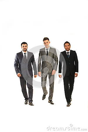 Walking three business men