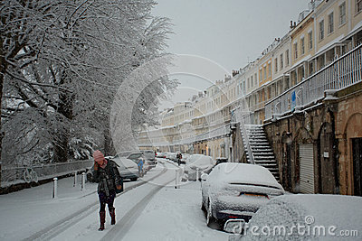 Walking to work in Clifton Royal York Crescent Editorial Stock Image