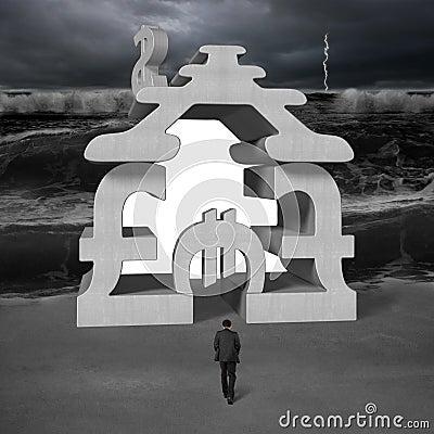Free Walking Toward Concrete Money Stacking Building With Tsunami Royalty Free Stock Images - 38156069
