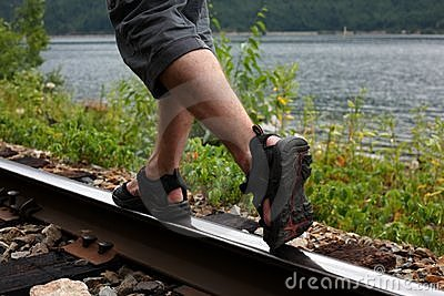 Walking on a train track