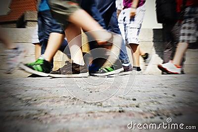 Walking on urban street
