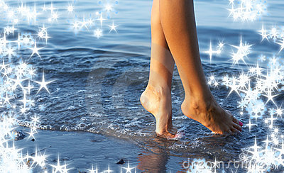 Walking on water with snowflakes