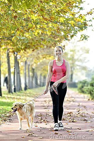 Free Walking With Dog Royalty Free Stock Photography - 35269127