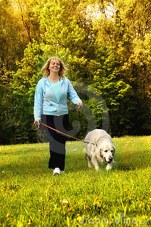 Free Walking With Dog Royalty Free Stock Photography - 6390277