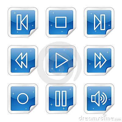 Walkman web icons, blue glossy sticker series