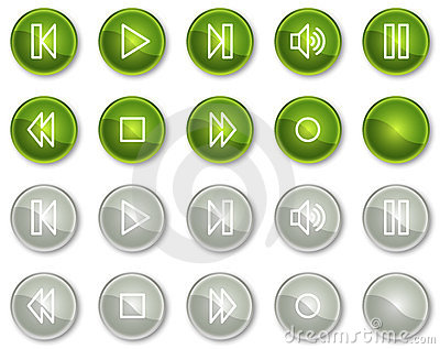 Walkman web icons, green and grey circle buttons
