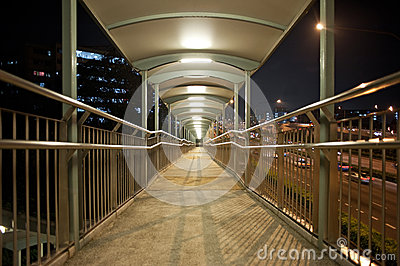 Walkway across a bridge