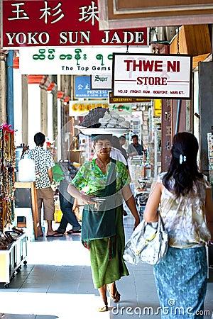 Walkway along shops selling semi precious stones Editorial Stock Photo