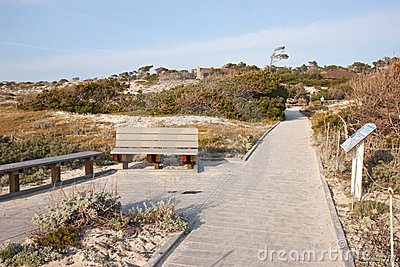 Walkway and buildings at Asilomar State Park Editorial Photo