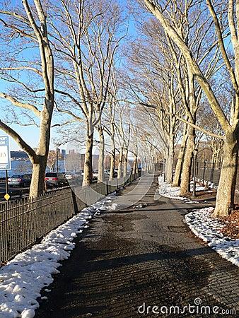 A walkway in Riverside Park
