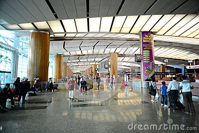 Walkway of Singapore Changi Airport Editorial Photo