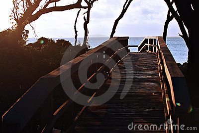 Walkway at sunrise
