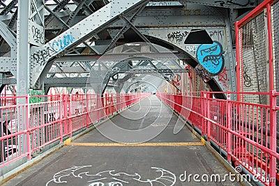 Walkway of Williamsburg Bridge in New York City