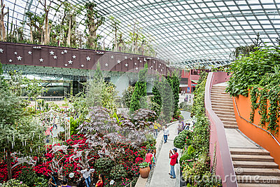 Walkways and stairs in Flower Dome Editorial Photo
