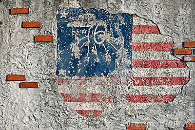 Wall with an american flag