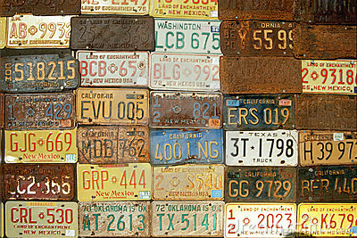 Wall of American License Plates Editorial Stock Image