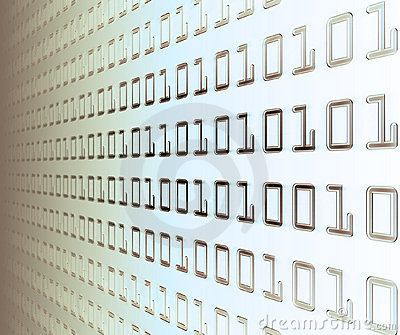 Wall of binary code