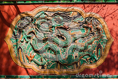 Wall with carved murals of dragon