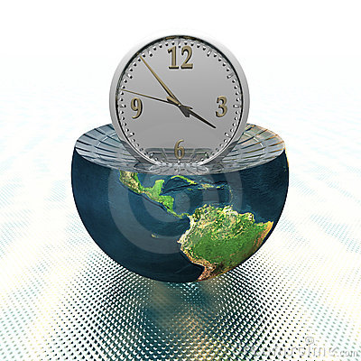 Wall clock on the earth hemisphere