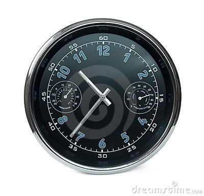 Free Wall Clock With Hydrometer And Thermometer Stock Photos - 11708823