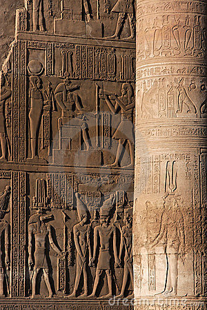 Wall and column in Kom Ombo