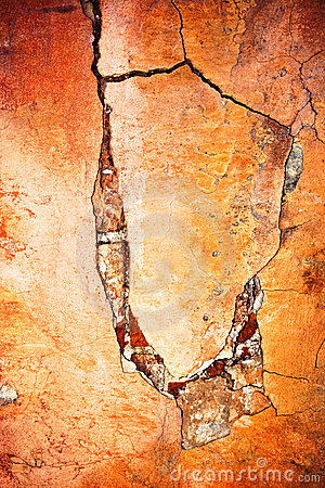 Wall with crack and peeling paint