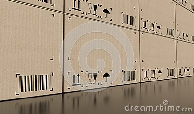 Wall of empty cardboard boxes