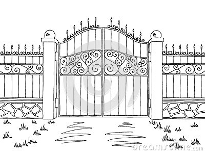 Wall fence gate graphic black white landscape sketch illustration Vector Illustration