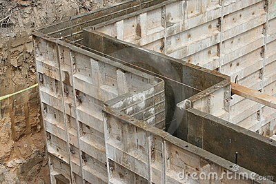 Wall forms molds for concrete stock photography image for Pouring concrete basement walls