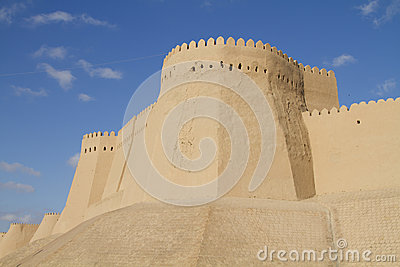 The wall of the fortress in the old city of Khiva