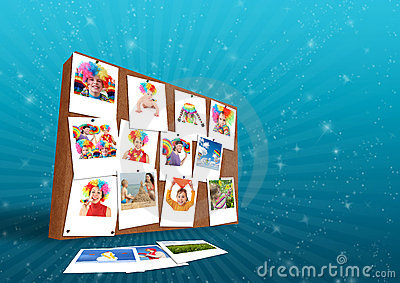 Wall with funny family photos collage